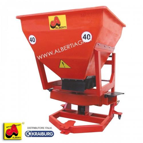 Spandiconcime per frutteti in materiale sintetico elastico, con pavimento vibrante, 550 litri / 380 kg