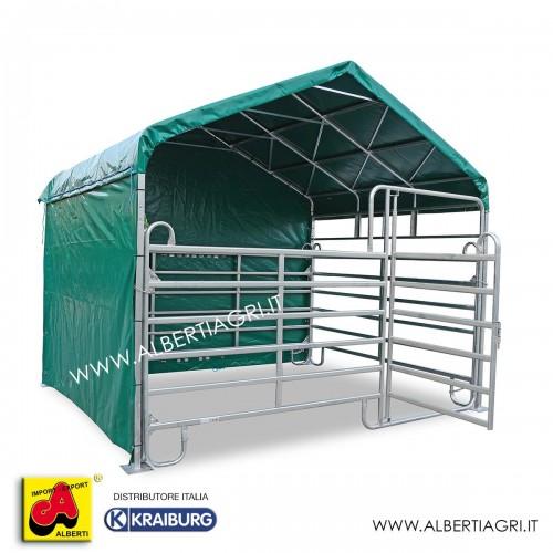 Struttura box cavalli 3,6x6 completo di 5 teli laterali 630 gr+copertura