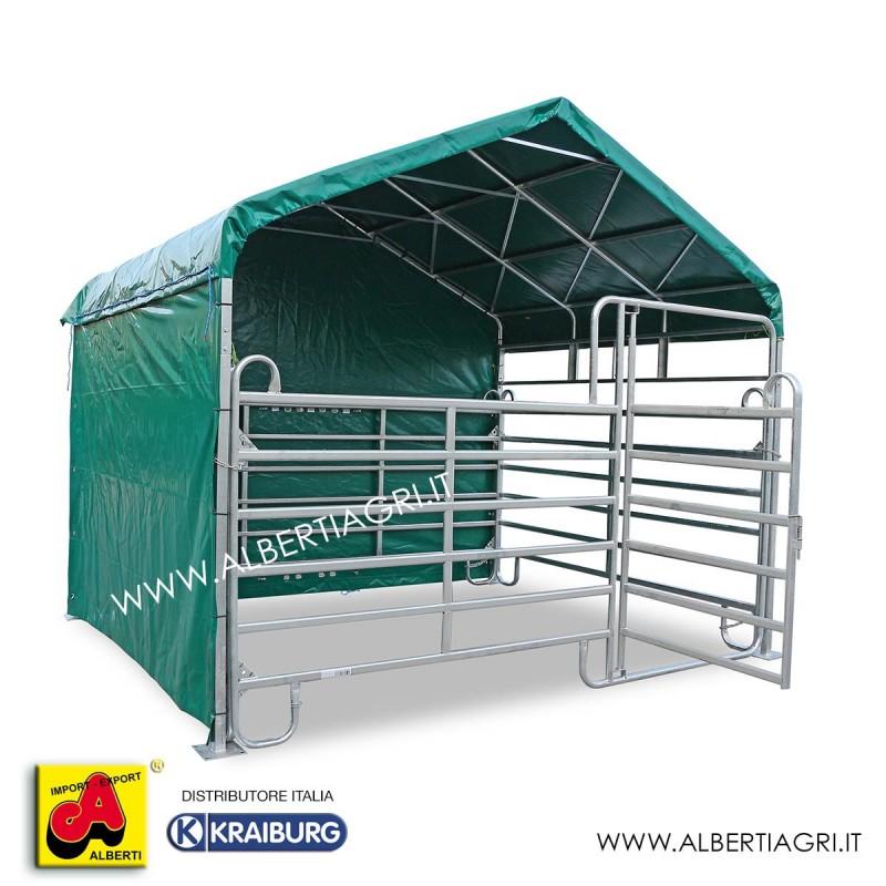 607 AMBOX3,6X6C5T_a Struttura box cavalli 3,6x6 compldi 5 teli lat.630 gr+copertura