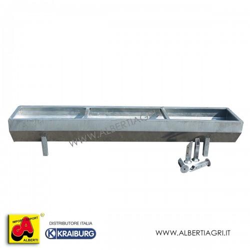 Mangiatoia/abbeveratoio in acciaio zincato a caldo 200x60x40