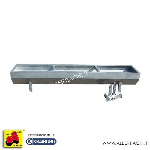 Mangiatoia/abbeveratoio in acciaio zincato a caldo 300x60x40
