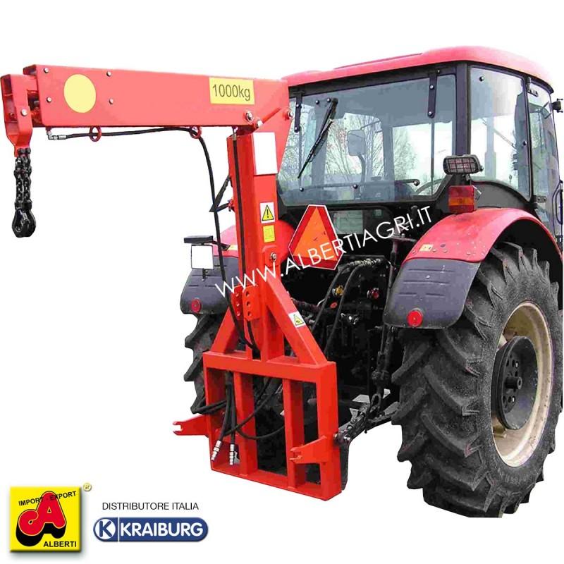 Gru idraulica 3 punti Big-Bag, portata massima di 1000 kg